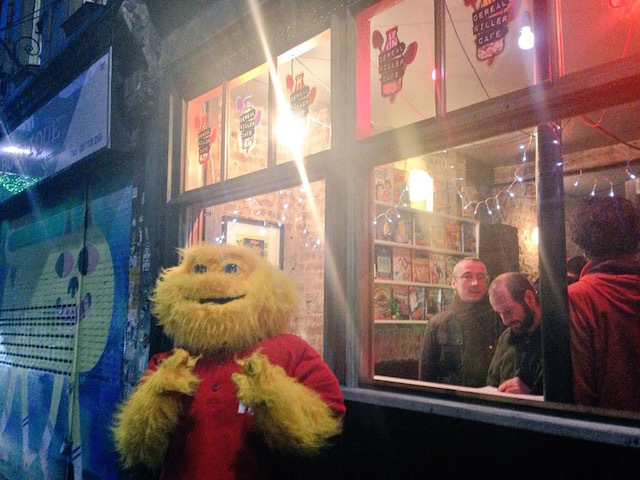 The opening of the Cereal Killer Cafe saw a couple of people dressed up as familiar cereal characters, such as this Honey Monster...