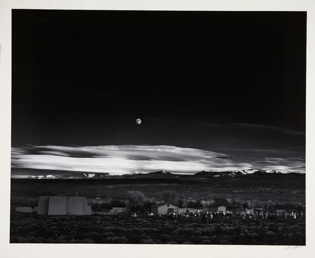Ansel Adams is one of the greatest landscape photographers and is represented here with a subtle moonrise over New Mexico. Copyright Ansel Adams publishing rights trust.
