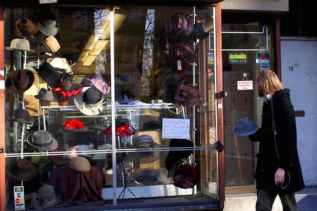Hat shop in Hackney, by Dario