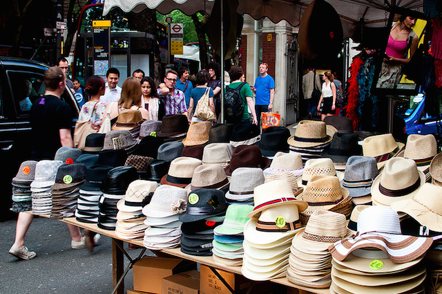 Hat stall in Shaftesbury Avenue by Matt