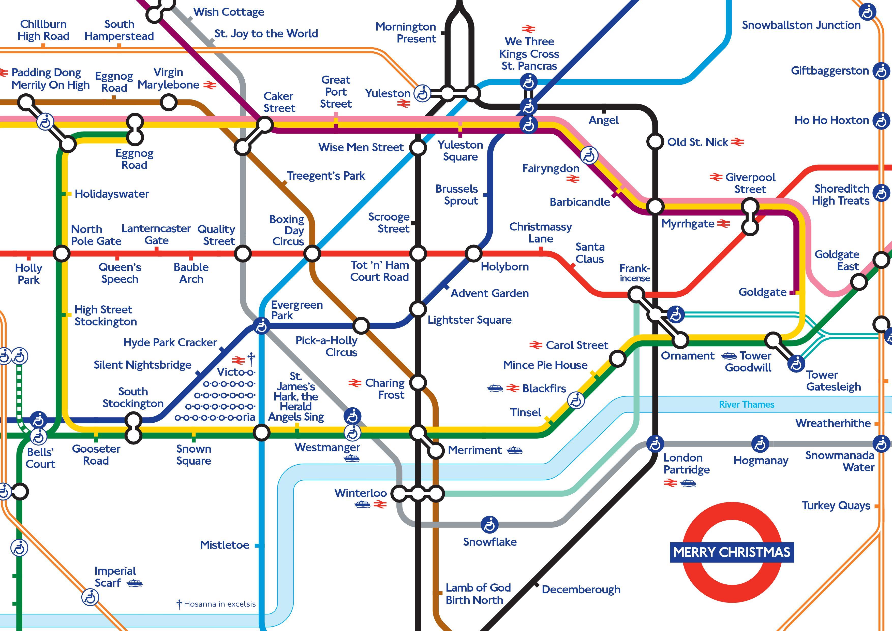 Tube Map 2014 Alternative Tube Maps: Merry Christmas   Londonist Tube Map 2014