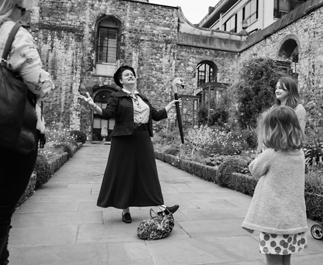 Amber Raney-Kincade doing her Mary Poppins tour in Christchurch Greyfriars garden on September 27th 2014.