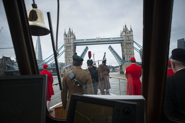 Tower Bridge opens up for the Havengore. © Havengore/Tom Gordon