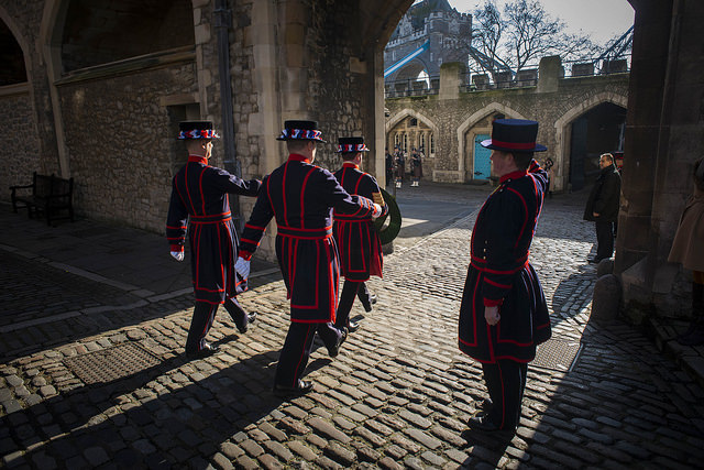 Beefeaters pay their respects at the Tower. © Havengore/Tom Gordon