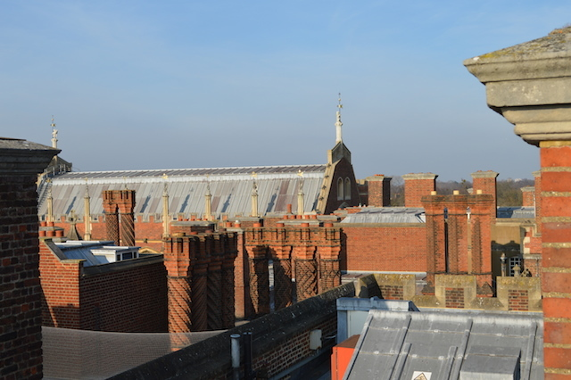 Up on the rooftops. The Tudor great hall can be seen in the distance.