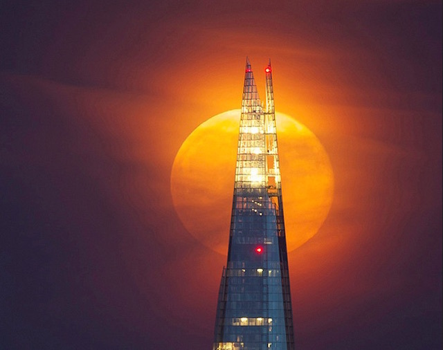 Full moon behind The Shard, taken from Primrose Hill. Photo: James Macdonald