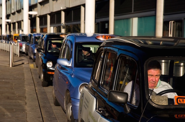 Cabbies in a queue. Photo: James Offer