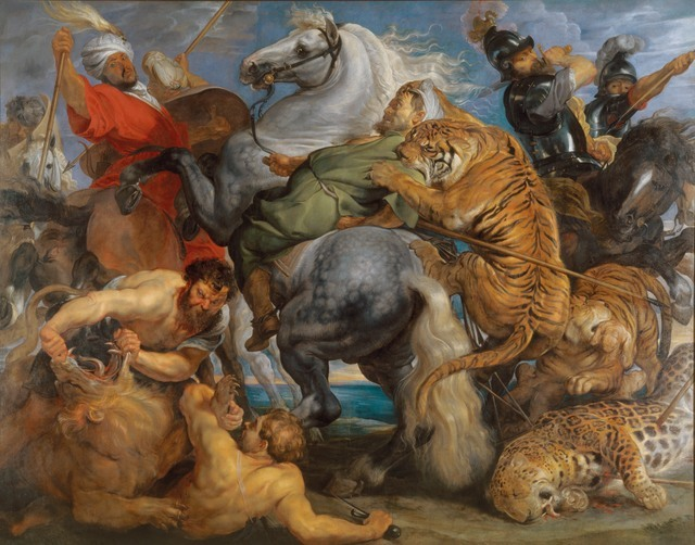 Peter Paul Rubens  Tiger, Lion and Leopard Hunt, 1616  Oil on canvas, 256 x 324.5 cm  Rennes, Musee des Beaux Arts  Photo c. MBA, Rennes, Dist. RMN-Grand Palais / Adelaide Beaudoin    PLEASE NOTE: This image must be reproduced no larger than one-quarter print page