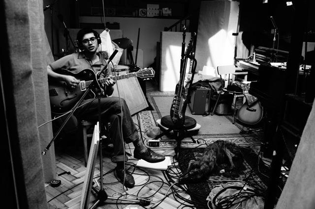 Lewis during the recording of the trio's album