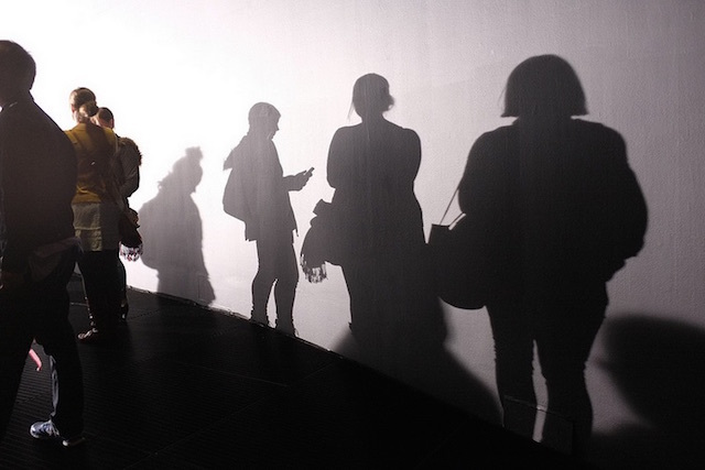 The queue to get into Barbican's Rain Room exhibition in 2012. Photo: Maki Aoyama