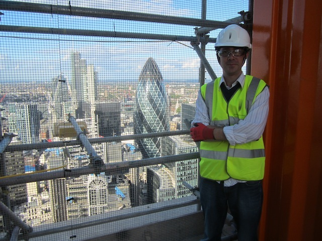 Matt at the top of the Walkie Talkie during construction