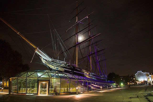 The moon behing the ghostly sails of the Cutty Sark in Greenwich. Photo: Michael Goldrei