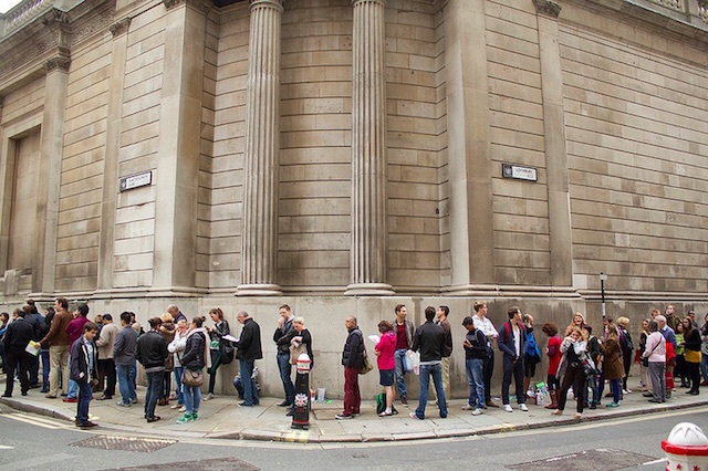 Open House Weekend always generates long queues. This was the one to get into the Bank of England in September 2013. Photo: Michael Goldrei