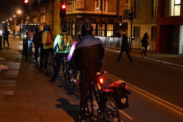 Even the cyclists queue up in London. Photo: psyxjaw
