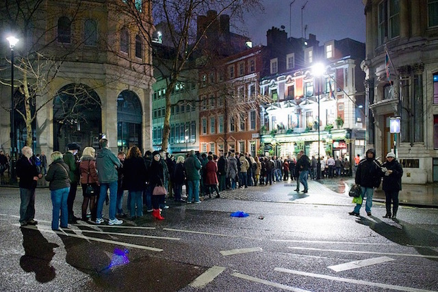The queue to get into the Sherlock Holmes pub near Charing Cross on New Year's Eve 2011. Photo: World of Tim
