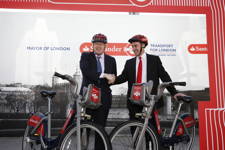 LONDON, ENGLAND – FEBRUARY 27: Mayor of London Boris Johnson announces Santander as the new sponsor of Santander Cycles in Central London pictured with Nathan Bostock, Chief Executive of Santander UK] (Photo by Steve Bardens/ Getty Images for Santander).
