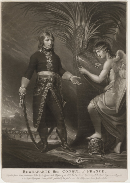 A confident  young Napoleon is shown here in a heroic pose next to the figure of Fame. © The Trustees of the British Museum