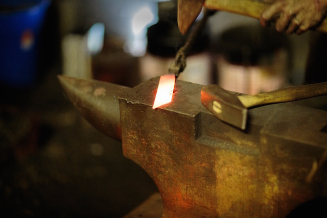 The steel is heated at 1,400C before being worked