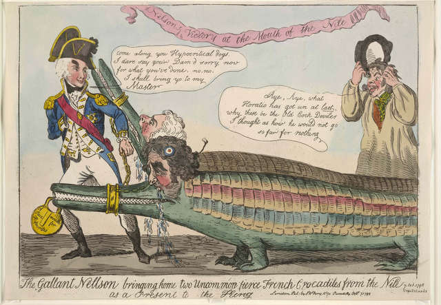 Lord Nelson is shown here with two captured French crocodiles, the choice of animal is a reference to the campaign in Egypt. © The Trustees of the British Museum