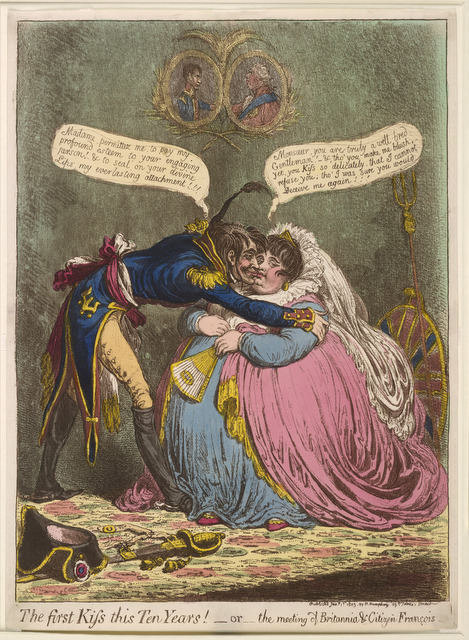 It was common to depict the French as charming and for British women to be shown as portly and the British in general as unfashionable. © The Trustees of the British Museum