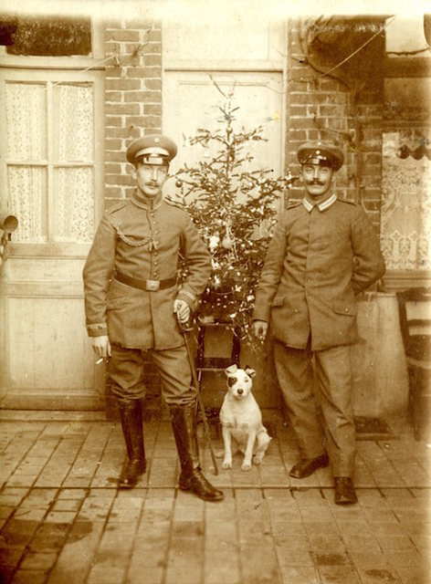 Two German Officers probably of General von Kluck's, 1st German Army, resting behind the lines at Le Cateau, France, Christmas 1916, during the grinding battles of attrition at the Somme and Ver dun.
