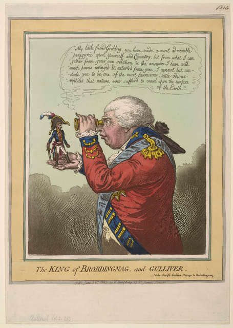 Even though Napoleon was average height for the time, his height was a common source of jest. Here he is shown as Gulliver being observed by a Brobdingnagian. © The Trustees of the British Museum
