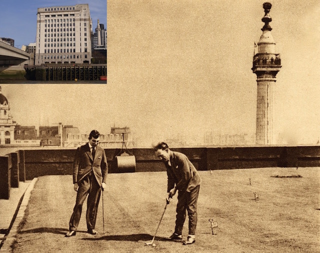 Adelaide House, at the north east end of London Bridge was the first office block in Britain to have central ventilation and electrical and phone connections on every floor. It also had a miniature golf course on the roof for employees! In this 1925 shot, taken shortly after it was opened, you can see a couple of gents enjoying putting action.
