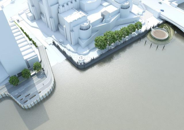 Albert Embankment: reclaimed land will appear underneath and either side of Vauxhall Bridge, with benches so we can admire the view to Millbank while remembering the poo flowing 48 metres beneath us.