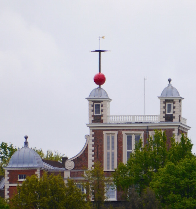 This big red ball was installed on the roof of the Royal Observatory in Greenwich in 1833. It is a time ball: each day it rises to the top of its pole and at precisely 1pm the ball drops. This was originally a signal for nearby ships to set their clocks precisely to Greenwich Meantime, still the world's standard.