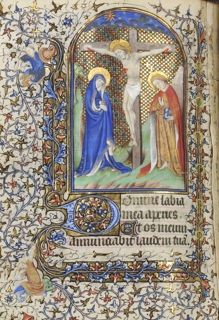 This devotional book of hours is one of several medieval books on display, all ornately decorated. Copyright Blackburn Museum and Art Gallery
