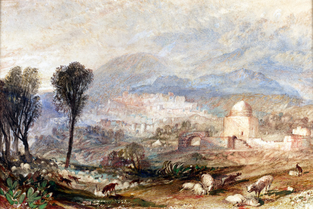 This view of Rachel's tomb sits alongside other Turner watercolours. Blackburn Museum and Art Gallery