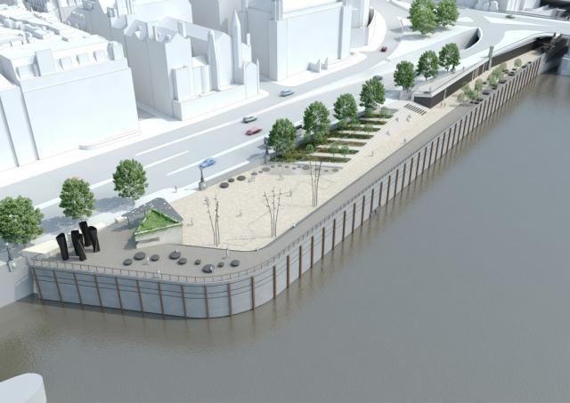 Blackfriars: hiding a 24 metre wide shaft will be this new piece of foreshore. Blackfriars will also get a new pier to replace the exisiting Millennium Pier.