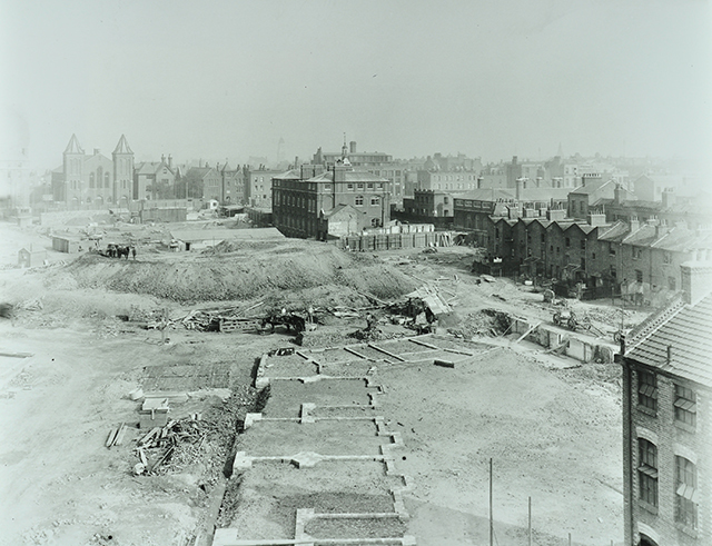 The campaign to raze the Old Nichol Rookery slum was spearheaded by Rev Osborne Jay. Looking south east in 1895, all that remained of the former slum was St Philip's Church. Jews, and later the Bengali community, brought greater diversity to an area which was already a cultural melting pot. Image from London Metropolitan Archives, City of London.