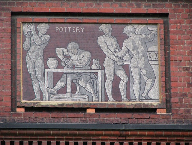 The V&A Museum of Childhood in Bethnal Green is home to several mosaics. This one sits on the north side of the building. Photographed in 2008. Photo: bradman334