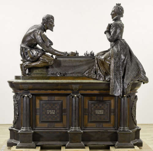 This super-sized chess set shows Elizabeth I facing off with Philip II of Spain with ships as the chess pieces -- a clear reference to the Spanish Armada's defeat by the English Navy. © Tate
