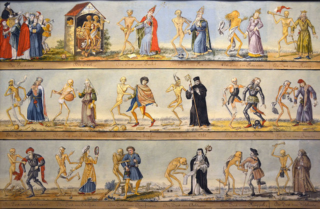 Picture shows a painting of people such as princes, paupers and popes dancing with skeletons