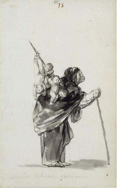 Feder und Pinsel in Grau und Schwarz (o.J.) von    Francisco JosÈ de Goya y Lucientes [30.3.1746 - 16.4.1828]    Blattmafl 23,4 x 14,6 cm   Inventar-Nr.: KdZ 4396   Person: Francisco JosÈ de Goya y Lucientes [1746 - 1828], Spanischer Maler   Systematik:    Personen / K¸nstler / Goya / Werke