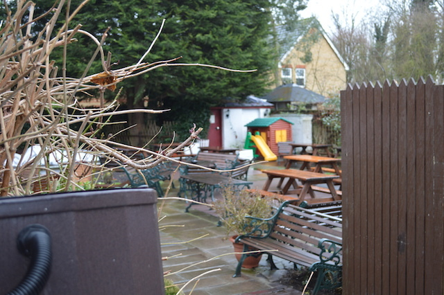 The beer garden. Perhaps winter's not the ideal time to enjoy it.