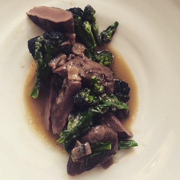 Lamb's heart with anchovies and sprouting broccoli at Lyle's. Photo by Joe Warwick.