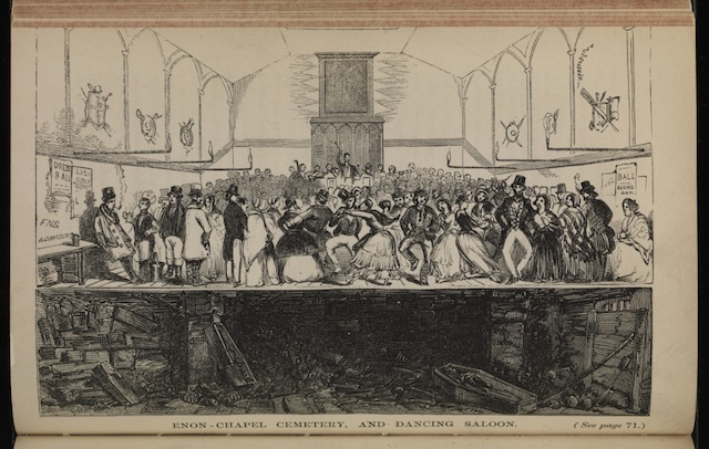 People dancing at Enon Chapel, London, with the gruesome corpses stuffed under the floorboards below them.