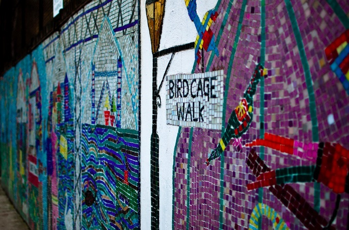 Columbia Road used to be called Birdcage Walk, as remembered in this mosaic. Photo: FouadUK (2010)