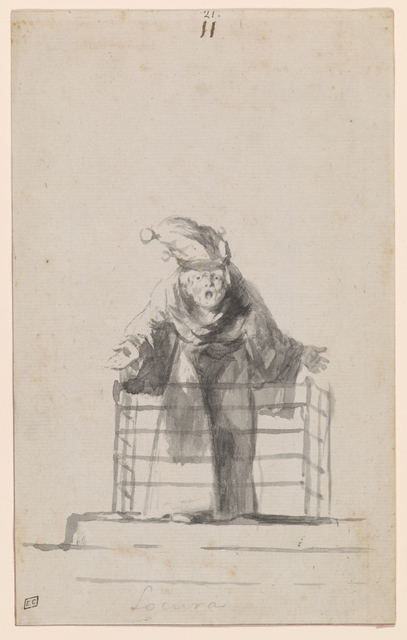 A caged lunatic screams in an image that evokes more sympathy than fear. Copyright The Morgan Library and Museum, New York.
