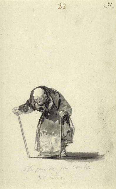 He Can No Longer at the Age of Ninety-Eight; Francisco José de Goya y Lucientes (Francisco de Goya), Spanish, 1746 - 1828; about 1819 - 1823; Brush and India ink; 23.3 x 14.4 cm (9 3/16 x 5 11/16 in.); 84.GA.646