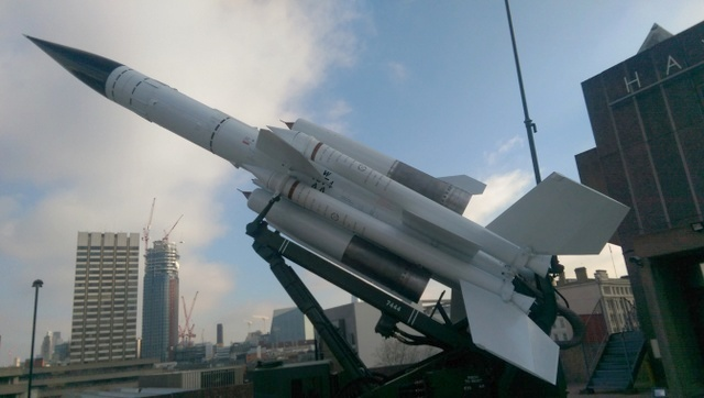 This bloodhound missile system was designed to take down Soviet bombers, now one sits on the balcony of the Southbank Centre. Photo by Tabish Khan.