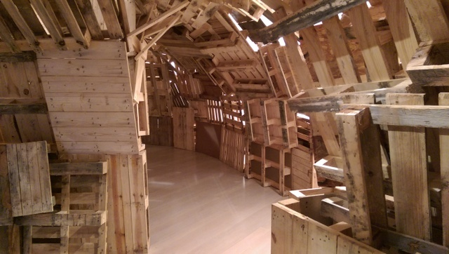 One floor is dominated by the tunnels made out of wooden pallets. Photo Tabish Khan