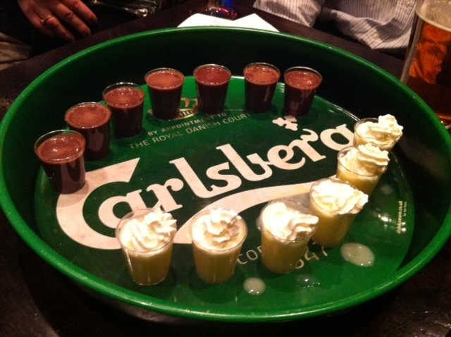Chocolate shots versus lemon meringue shots.