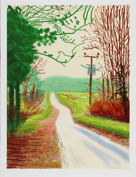 """THE ARRIVAL OF SPRING IN WOLDGATE, EAST YORKSHIRE IN 2011 (TWENTY ELEVEN) - 23 FEBRUARY""IPAD DRAWING PRINTED ON PAPER55 X 41 1/2""EDITION OF 25© DAVID HOCKNEYPHOTO CREDIT: RICHARD SCHMIDT"