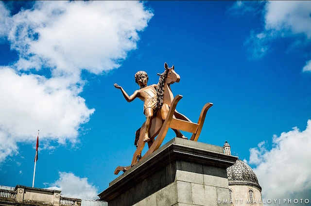 Powerless Structures, Fig. 101 was an installation by Scandinavian artists Elmgreen & Dragset. Contrasting with the square's other statues which celebrate kings and military leaders, portrayed the heroism of growing up.Photo: Matt (2012)