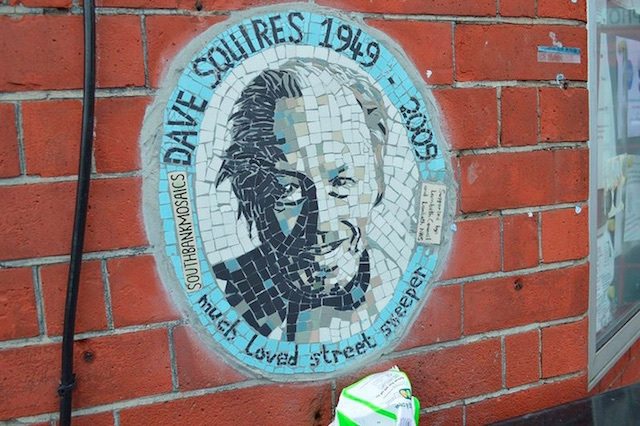 This mosaic outside Waterloo Action Centre in Baylis Road commemorates local, well respected roadsweeper Dave Squires.Photo: Matt Brown (2015)