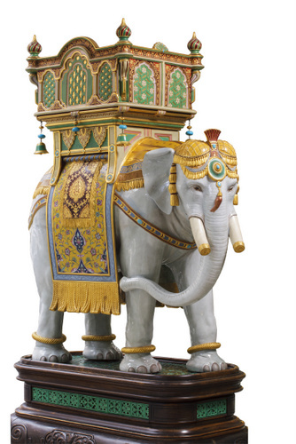 This brightly coloured elephant is typical of the over the top sculptures the Victorians commissioned.  A peacock in a similar style is located in the same room. © Thomas Goode & Co. Ltd., London